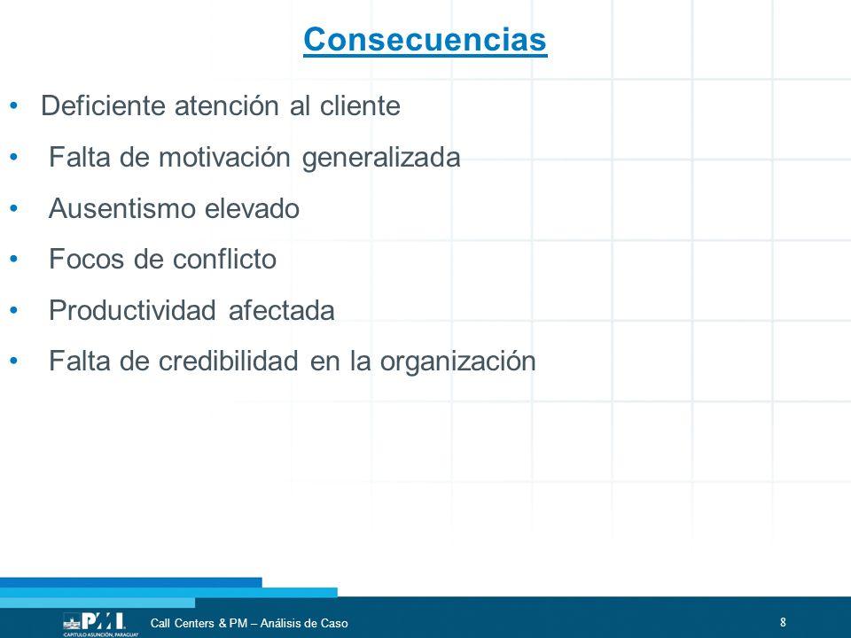 8 Call Centers & PM – Análisis de Caso Consecuencias Deficiente atención al cliente Falta de motivación generalizada Ausentismo elevado Focos de confl