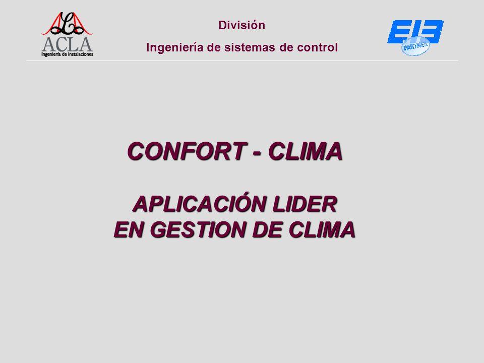 División Ingeniería de sistemas de control CONFORT - CLIMA APLICACIÓN LIDER EN GESTION DE CLIMA