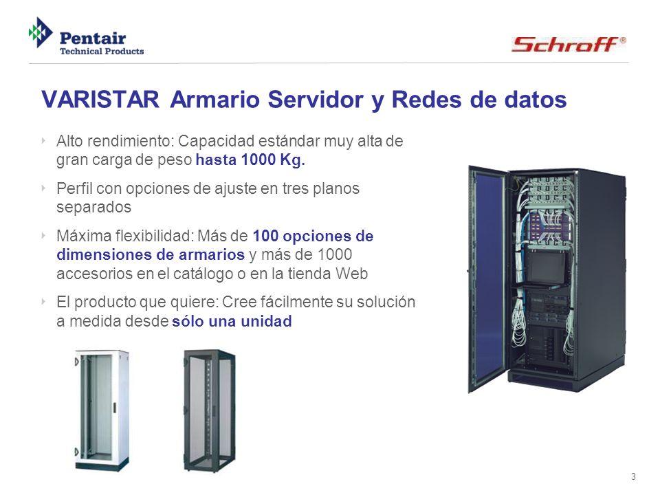 3 VARISTAR Armario Servidor y Redes de datos Alto rendimiento: Capacidad estándar muy alta de gran carga de peso hasta 1000 Kg. Perfil con opciones de