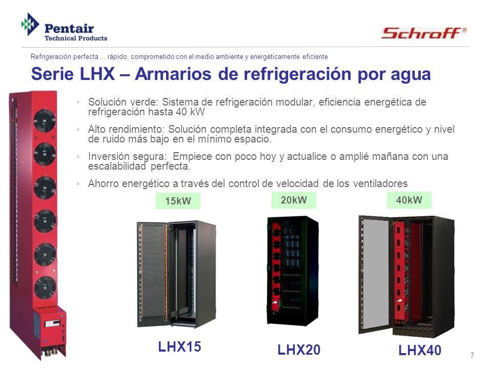 8 Serie LHX - caracteristicas Circuito de aire: Monitorización de los ventiladores y la temperatura Circuito de agua: Monitorización de la temperatura del agua; sensor de fugas de agua (opcional) Cambio de ventiladores in situ Un armario para diferentes potencias de refrigeración fácil de actualizar del LHX20 al LHX40 Armarios independientes o como el refrigerador en batería más pequeño en el mercado