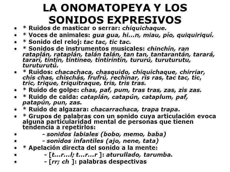 LA ONOMATOPEYA Y LOS SONIDOS EXPRESIVOS * Ruidos de masticar o serrar: chiquichaque. * Voces de animales: gua gua, hi...n, miau, pío, quiquiriquí. * S