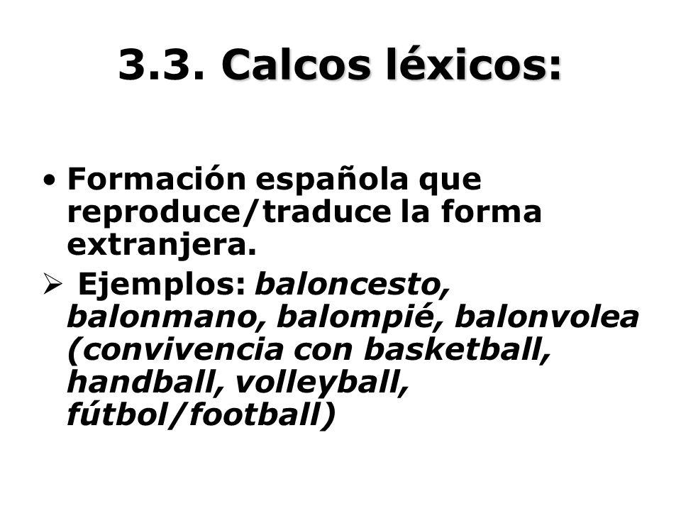 Calcos léxicos: 3.3. Calcos léxicos: Formación española que reproduce/traduce la forma extranjera. Ejemplos: baloncesto, balonmano, balompié, balonvol
