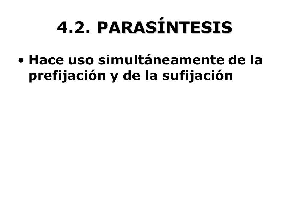 PARASÍNTESIS 4.2. PARASÍNTESIS Hace uso simultáneamente de la prefijación y de la sufijación