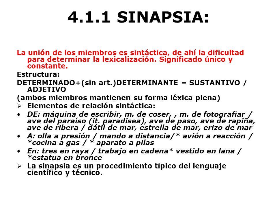 4.1.1 SINAPSIA: La unión de los miembros es sintáctica, de ahí la dificultad para determinar la lexicalización. Significado único y constante. Estruct