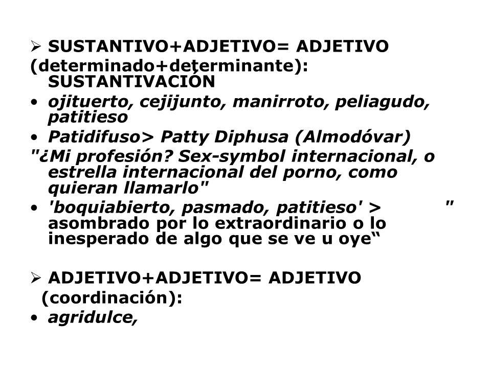 SUSTANTIVO+ADJETIVO= ADJETIVO (determinado+determinante): SUSTANTIVACIÓN ojituerto, cejijunto, manirroto, peliagudo, patitieso Patidifuso> Patty Diphu