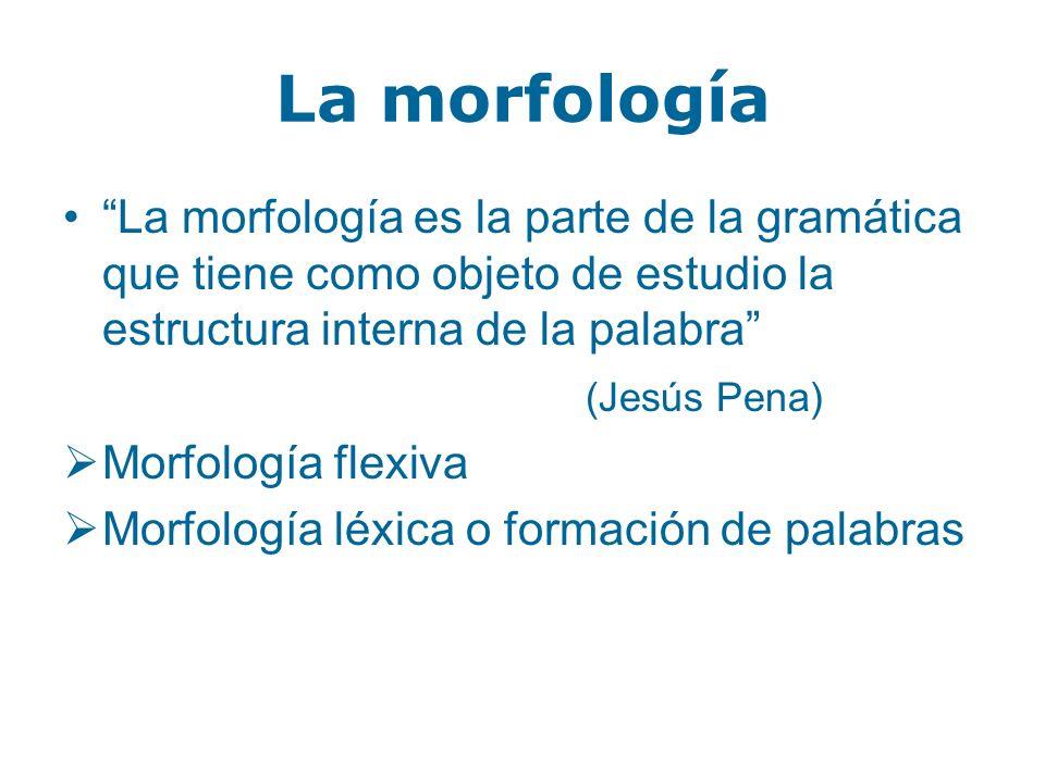La morfología La morfología es la parte de la gramática que tiene como objeto de estudio la estructura interna de la palabra (Jesús Pena) Morfología f