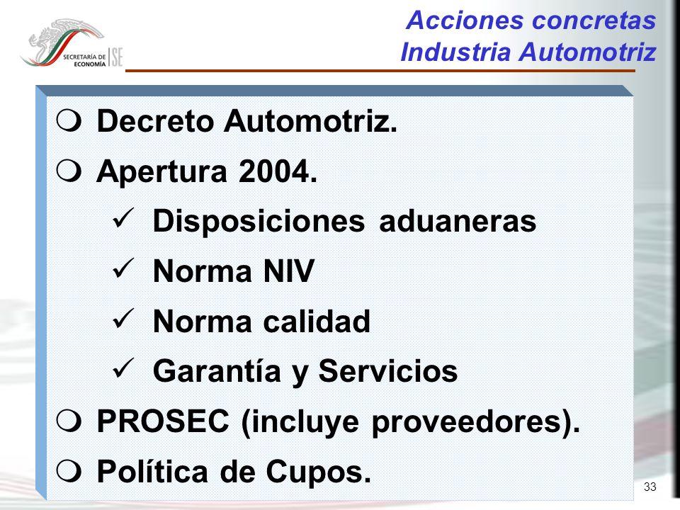 33 Acciones concretas Industria Automotriz m Decreto Automotriz.