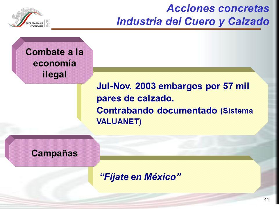 41 Fíjate en México Jul-Nov. 2003 embargos por 57 mil pares de calzado.