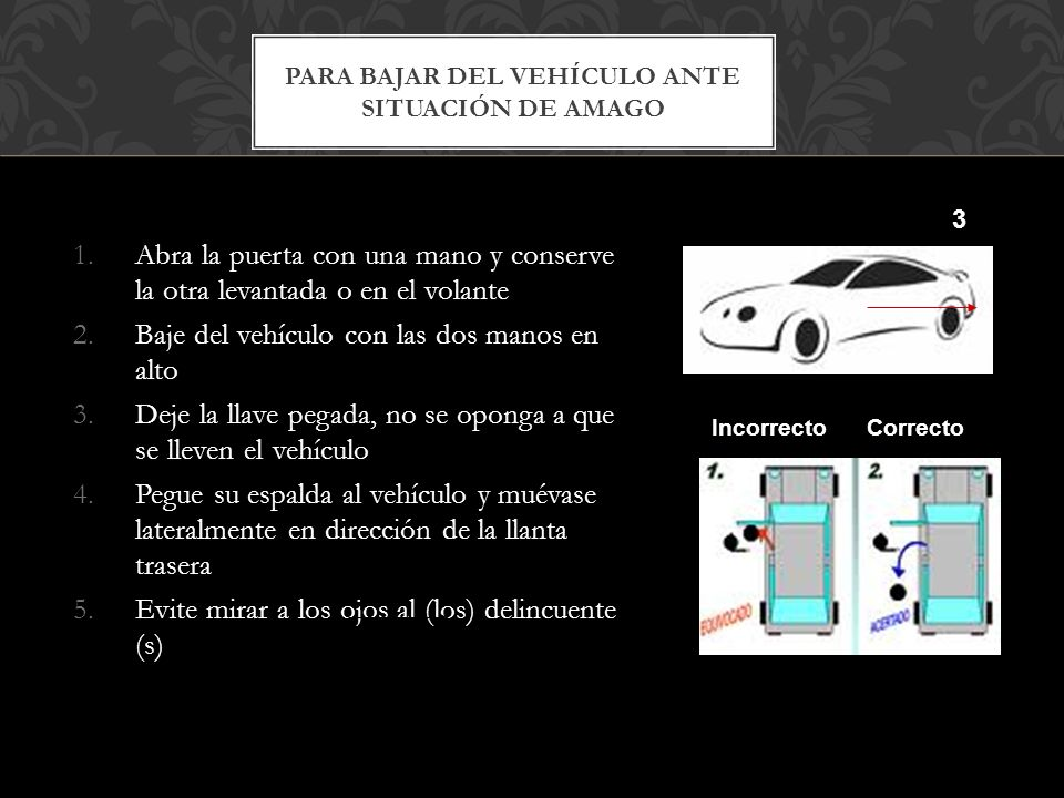 1.Abra la puerta con una mano y conserve la otra levantada o en el volante 2.Baje del vehículo con las dos manos en alto 3.Deje la llave pegada, no se oponga a que se lleven el vehículo 4.Pegue su espalda al vehículo y muévase lateralmente en dirección de la llanta trasera 5.Evite mirar a los ojos al (los) delincuente (s) PARA BAJAR DEL VEHÍCULO ANTE SITUACIÓN DE AMAGO 3 Incorrecto Correcto
