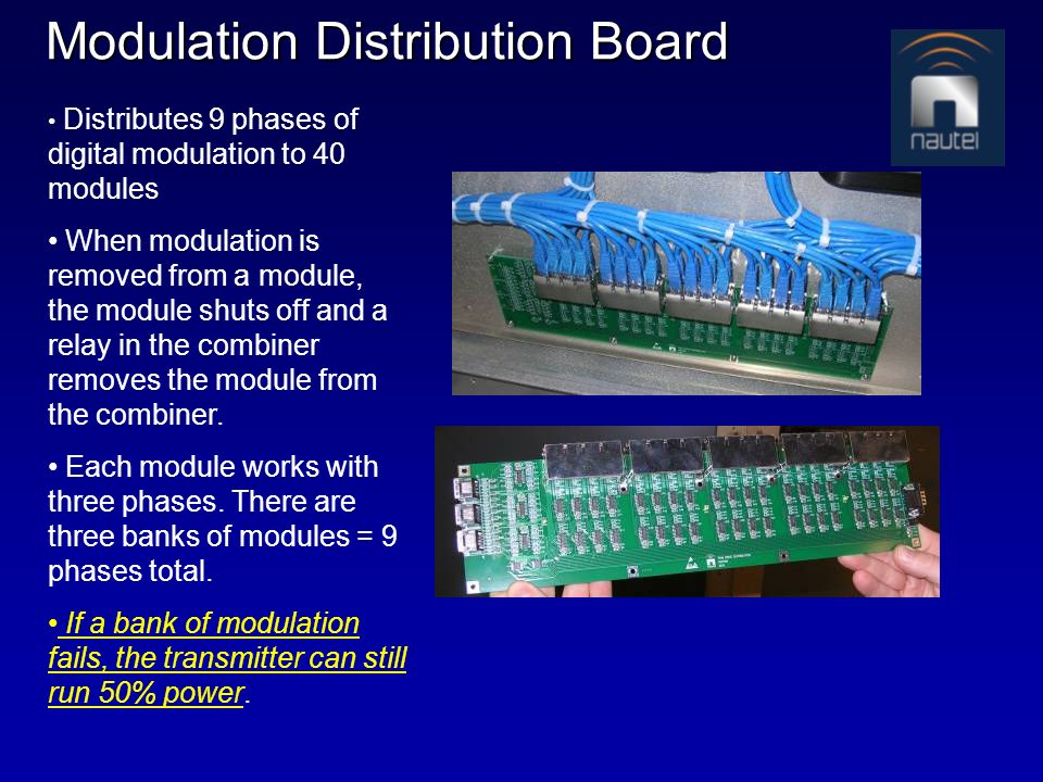 Modulation Distribution Board Distributes 9 phases of digital modulation to 40 modules When modulation is removed from a module, the module shuts off