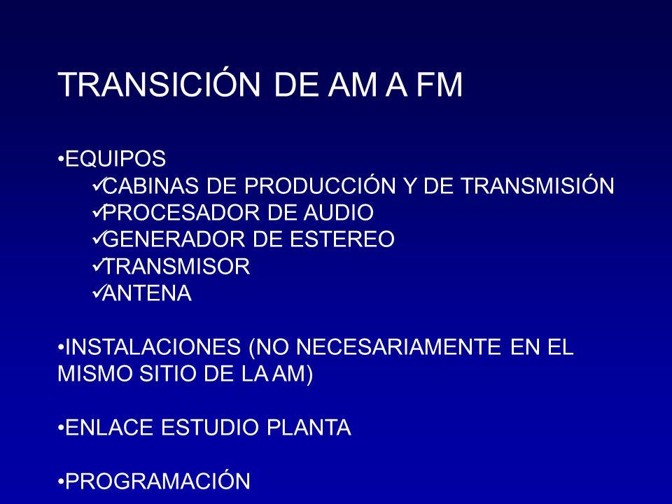 TRANSICIÓN DE AM A FM EQUIPOS CABINAS DE PRODUCCIÓN Y DE TRANSMISIÓN PROCESADOR DE AUDIO GENERADOR DE ESTEREO TRANSMISOR ANTENA INSTALACIONES (NO NECE