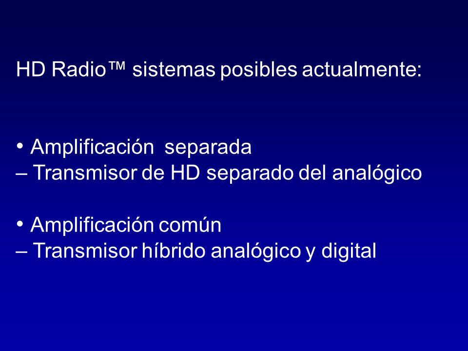 HD Radio sistemas posibles actualmente: Amplificación separada – Transmisor de HD separado del analógico Amplificación común – Transmisor híbrido anal