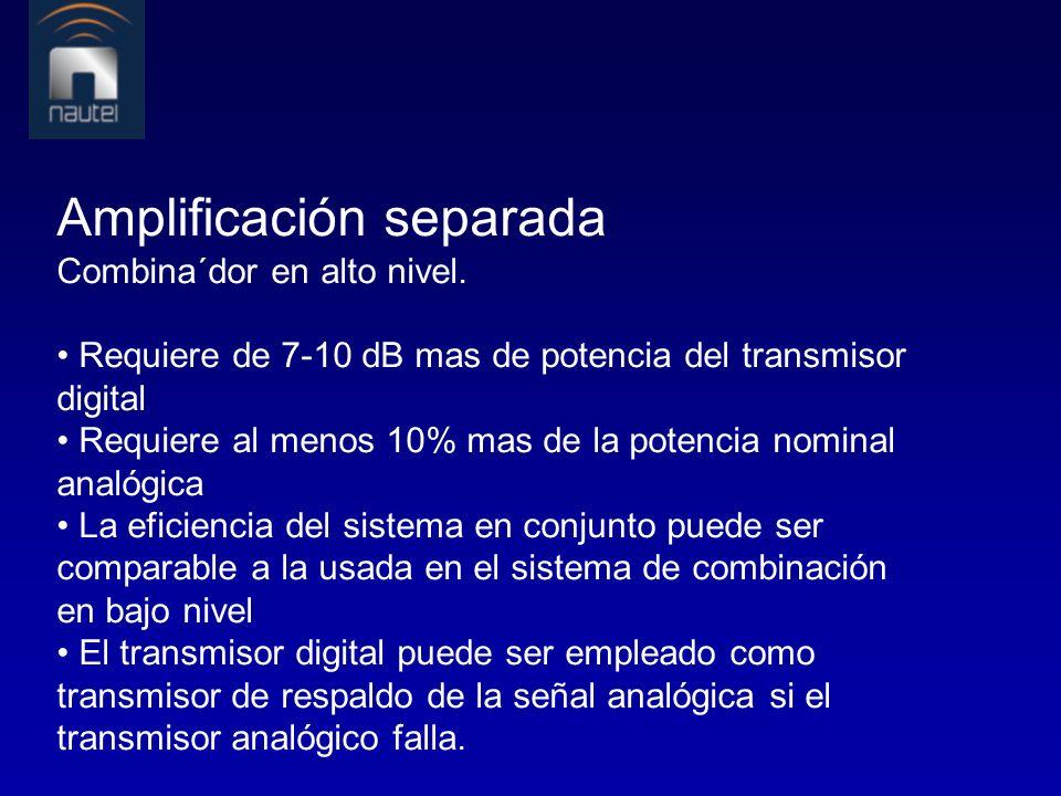Amplificación separada Combina´dor en alto nivel. Requiere de 7-10 dB mas de potencia del transmisor digital Requiere al menos 10% mas de la potencia