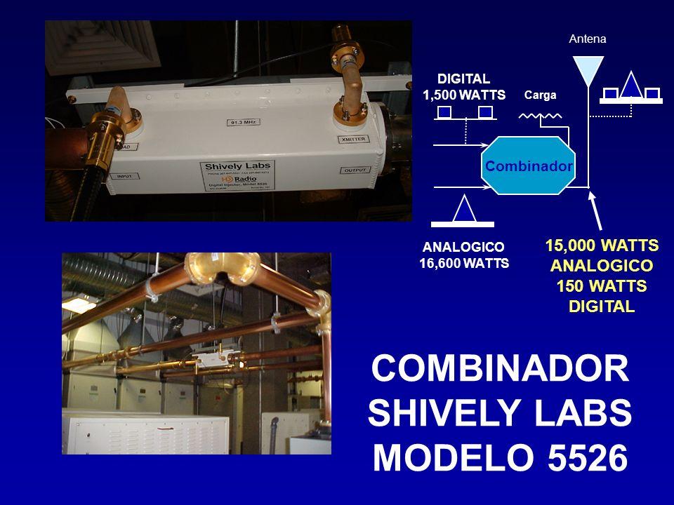 COMBINADOR SHIVELY LABS MODELO 5526 Antena Carga Combinador DIGITAL 1,500 WATTS ANALOGICO 16,600 WATTS 15,000 WATTS ANALOGICO 150 WATTS DIGITAL