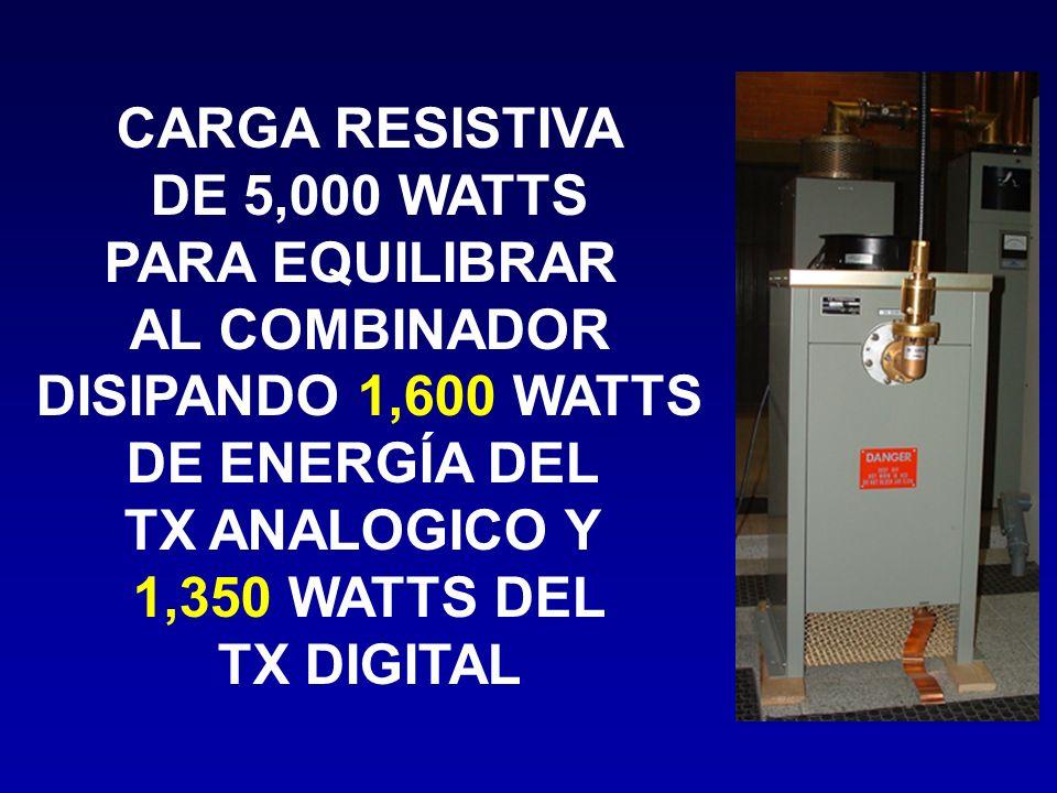 CARGA RESISTIVA DE 5,000 WATTS PARA EQUILIBRAR AL COMBINADOR DISIPANDO 1,600 WATTS DE ENERGÍA DEL TX ANALOGICO Y 1,350 WATTS DEL TX DIGITAL