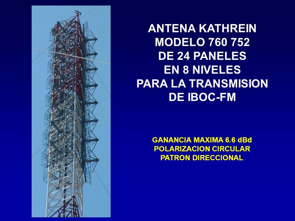 ANTENA KATHREIN MODELO 760 752 DE 24 PANELES EN 8 NIVELES PARA LA TRANSMISION DE IBOC-FM GANANCIA MAXIMA 6.6 dBd POLARIZACION CIRCULAR PATRON DIRECCIO