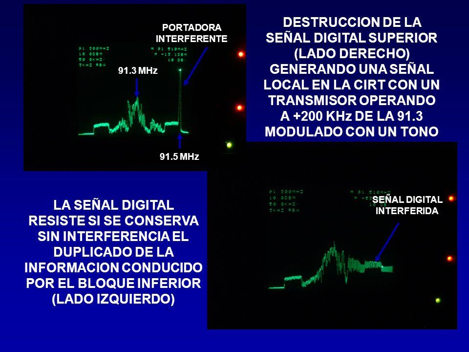 DESTRUCCION DE LA SEÑAL DIGITAL SUPERIOR (LADO DERECHO) GENERANDO UNA SEÑAL LOCAL EN LA CIRT CON UN TRANSMISOR OPERANDO A +200 KHz DE LA 91.3 MODULADO