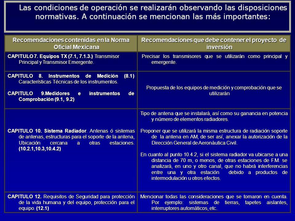 Recomendaciones contenidas en la Norma Oficial Mexicana Recomendaciones que debe contener el proyecto de inversión CAPITULO 7. Equipos TX (7.1, 7.1.3.
