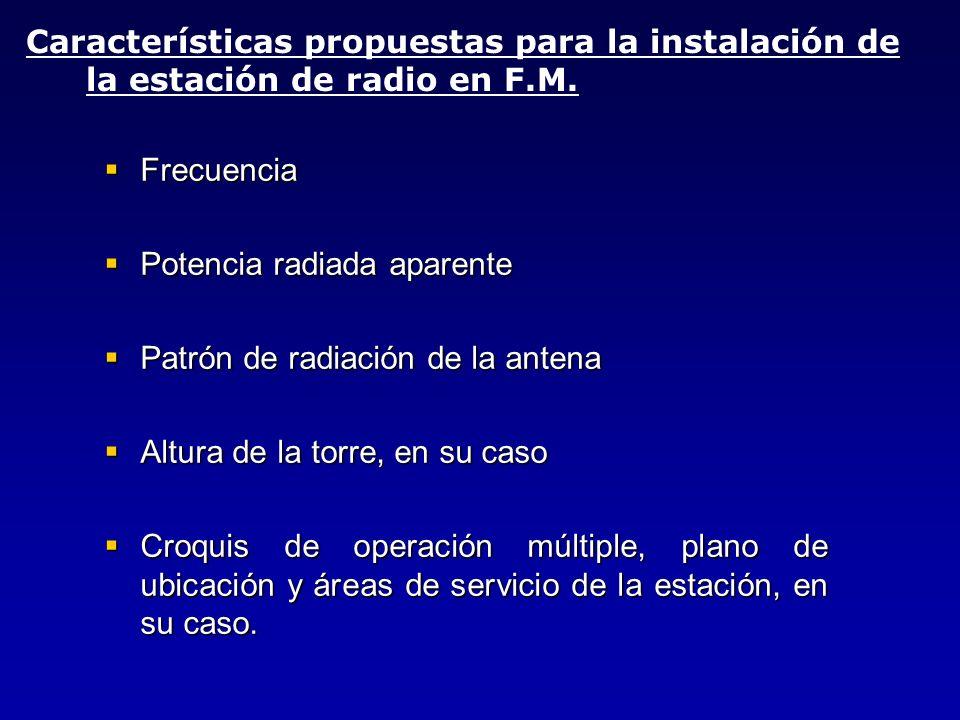 Frecuencia Frecuencia Potencia radiada aparente Potencia radiada aparente Patrón de radiación de la antena Patrón de radiación de la antena Altura de
