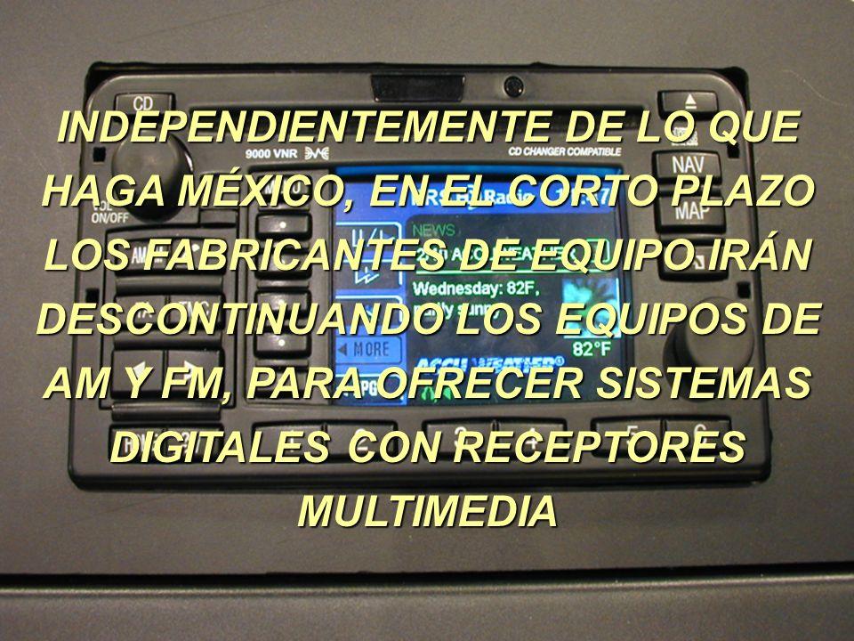 INDEPENDIENTEMENTE DE LO QUE HAGA MÉXICO, EN EL CORTO PLAZO LOS FABRICANTES DE EQUIPO IRÁN DESCONTINUANDO LOS EQUIPOS DE AM Y FM, PARA OFRECER SISTEMA