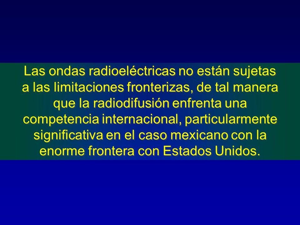 Las ondas radioeléctricas no están sujetas a las limitaciones fronterizas, de tal manera que la radiodifusión enfrenta una competencia internacional,