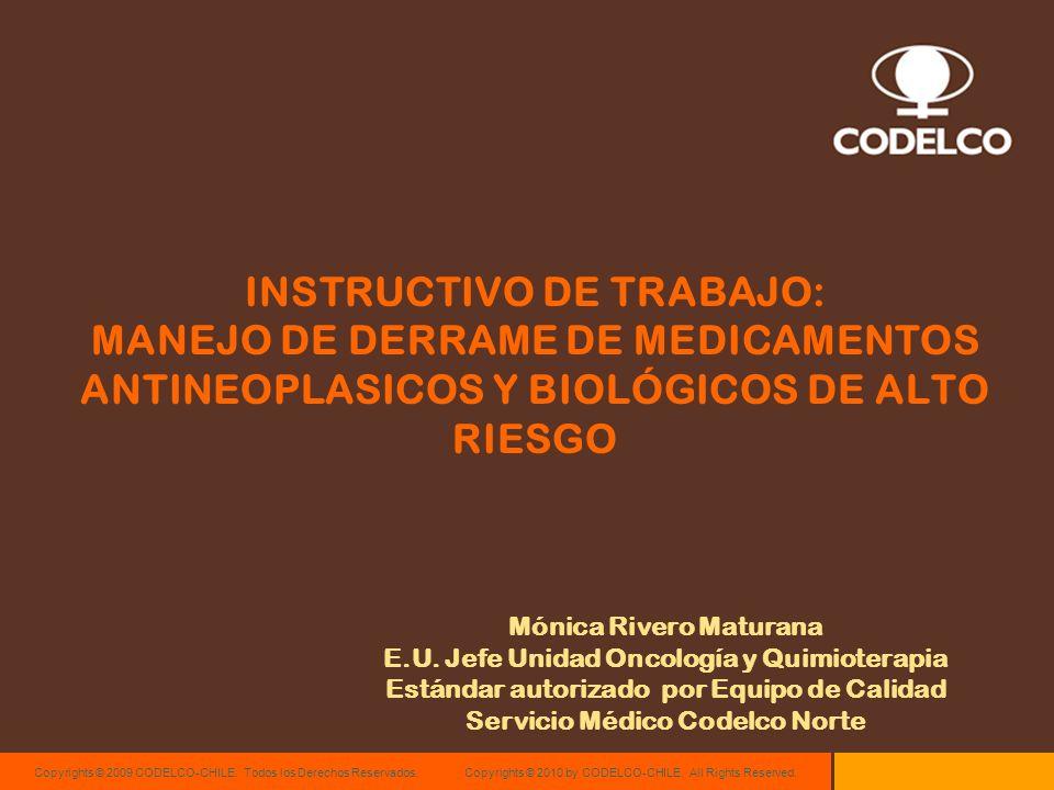 Copyrights © 2009 CODELCO-CHILE. Todos los Derechos Reservados. Copyrights © 2010 by CODELCO-CHILE. All Rights Reserved. INSTRUCTIVO DE TRABAJO: MANEJ