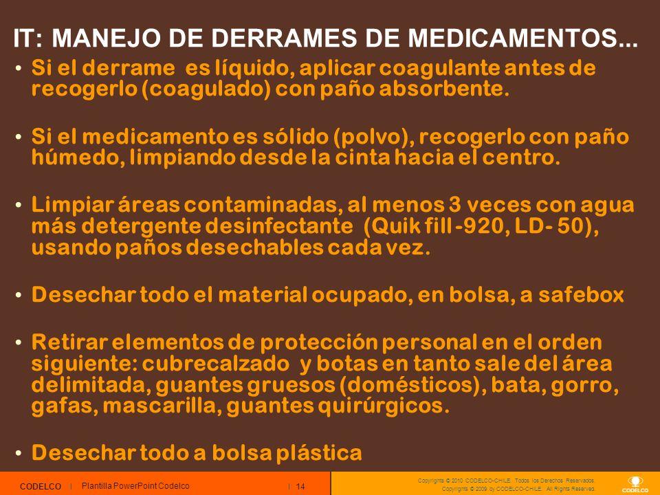 14 CODELCO Copyrights © 2010 CODELCO-CHILE. Todos los Derechos Reservados. Copyrights © 2009 by CODELCO-CHILE. All Rights Reserved. IT: MANEJO DE DERR