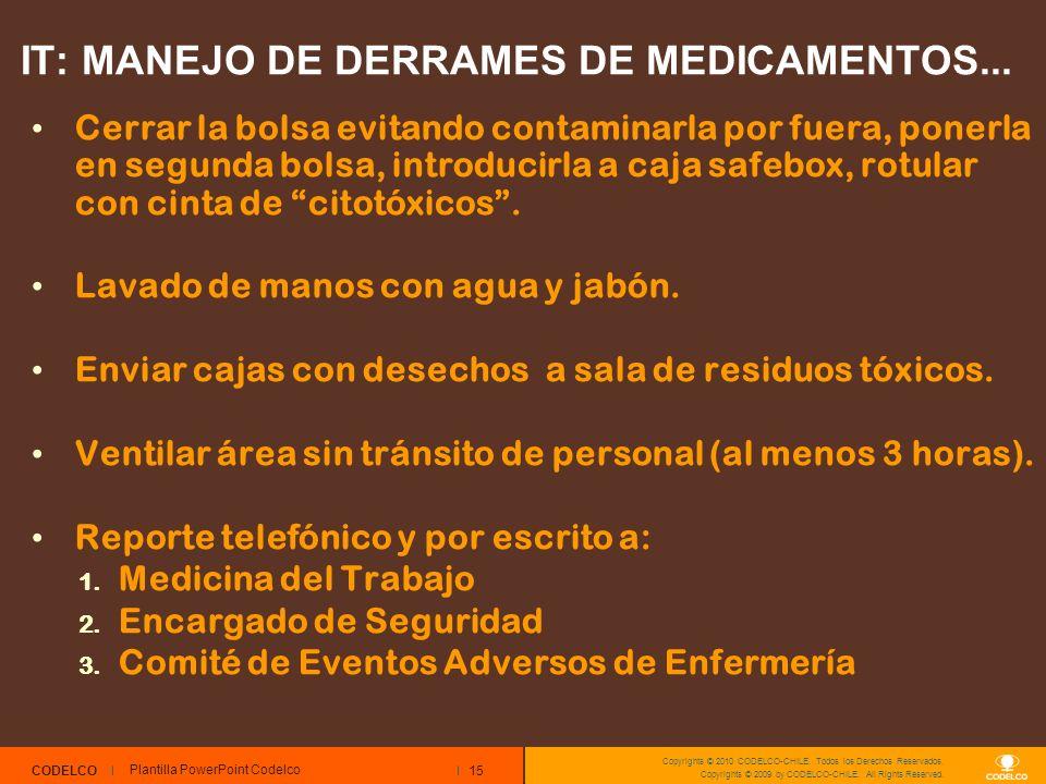 15 CODELCO Copyrights © 2010 CODELCO-CHILE. Todos los Derechos Reservados. Copyrights © 2009 by CODELCO-CHILE. All Rights Reserved. IT: MANEJO DE DERR