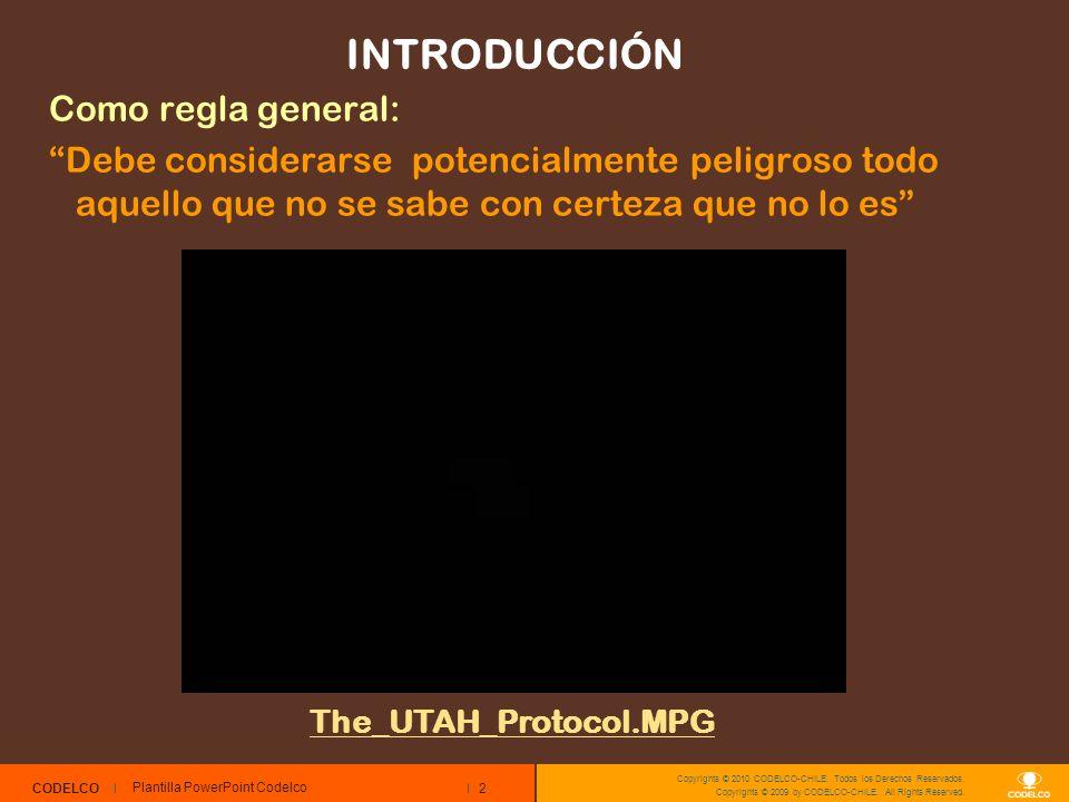 2 CODELCO Copyrights © 2010 CODELCO-CHILE. Todos los Derechos Reservados. Copyrights © 2009 by CODELCO-CHILE. All Rights Reserved. INTRODUCCIÓN Como r