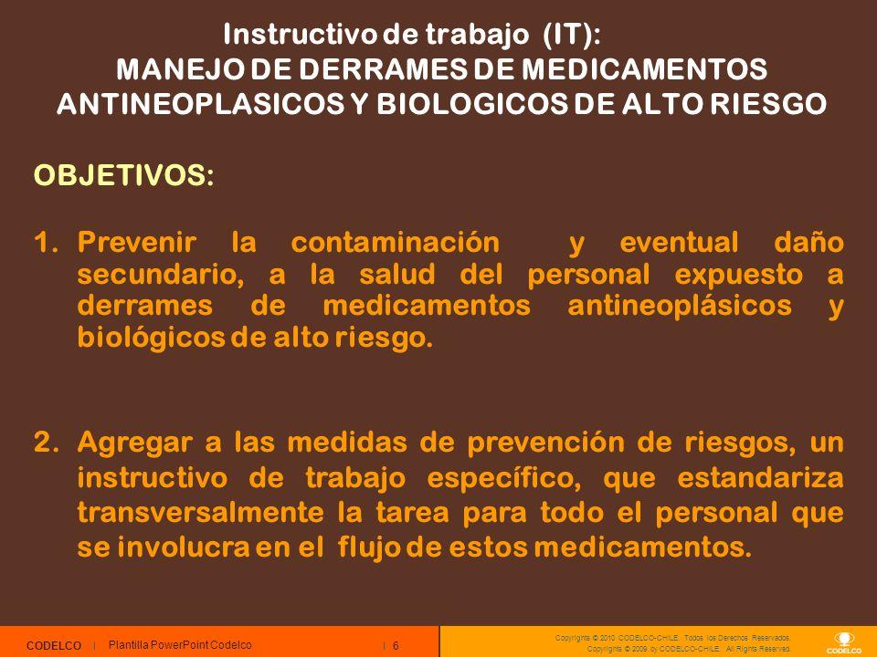 6 CODELCO Copyrights © 2010 CODELCO-CHILE. Todos los Derechos Reservados. Copyrights © 2009 by CODELCO-CHILE. All Rights Reserved. Instructivo de trab