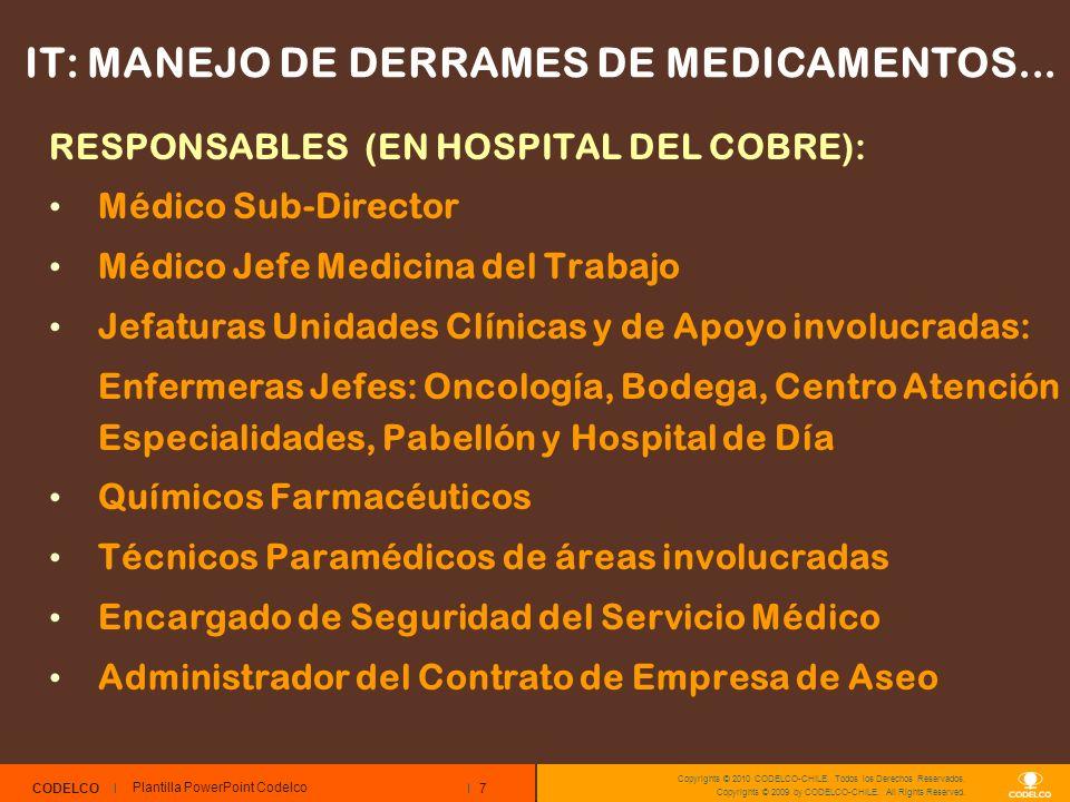 7 CODELCO Copyrights © 2010 CODELCO-CHILE. Todos los Derechos Reservados. Copyrights © 2009 by CODELCO-CHILE. All Rights Reserved. IT: MANEJO DE DERRA