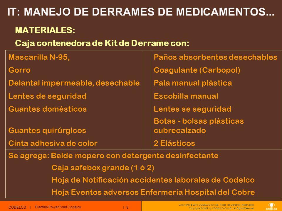 8 CODELCO Copyrights © 2010 CODELCO-CHILE. Todos los Derechos Reservados. Copyrights © 2009 by CODELCO-CHILE. All Rights Reserved. IT: MANEJO DE DERRA