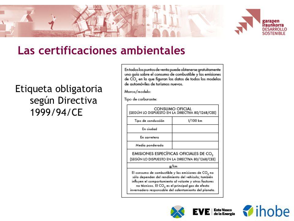 Las certificaciones ambientales Etiqueta obligatoria según Directiva 1999/94/CE