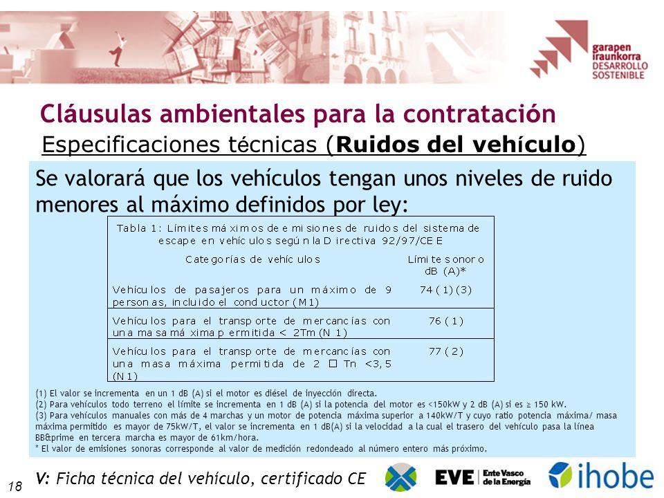 18 Cl á usulas ambientales para la contrataci ó n Se valorará que los vehículos tengan unos niveles de ruido menores al máximo definidos por ley: (1) El valor se incrementa en un 1 dB (A) si el motor es diésel de inyección directa.