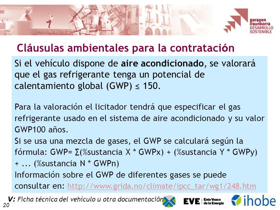 20 Cl á usulas ambientales para la contrataci ó n V: Ficha técnica del vehículo Si el vehículo dispone de aire acondicionado, se valorará que el gas refrigerante tenga un potencial de calentamiento global (GWP) 150.
