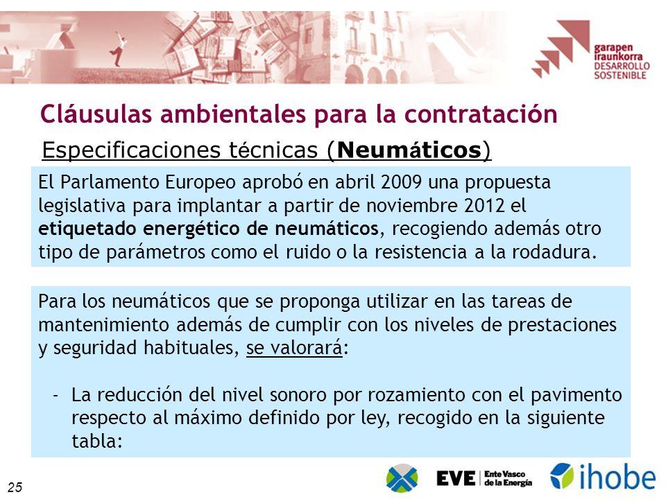 25 Cl á usulas ambientales para la contrataci ó n Especificaciones t é cnicas (Neum á ticos) Para los neumáticos que se proponga utilizar en las tarea