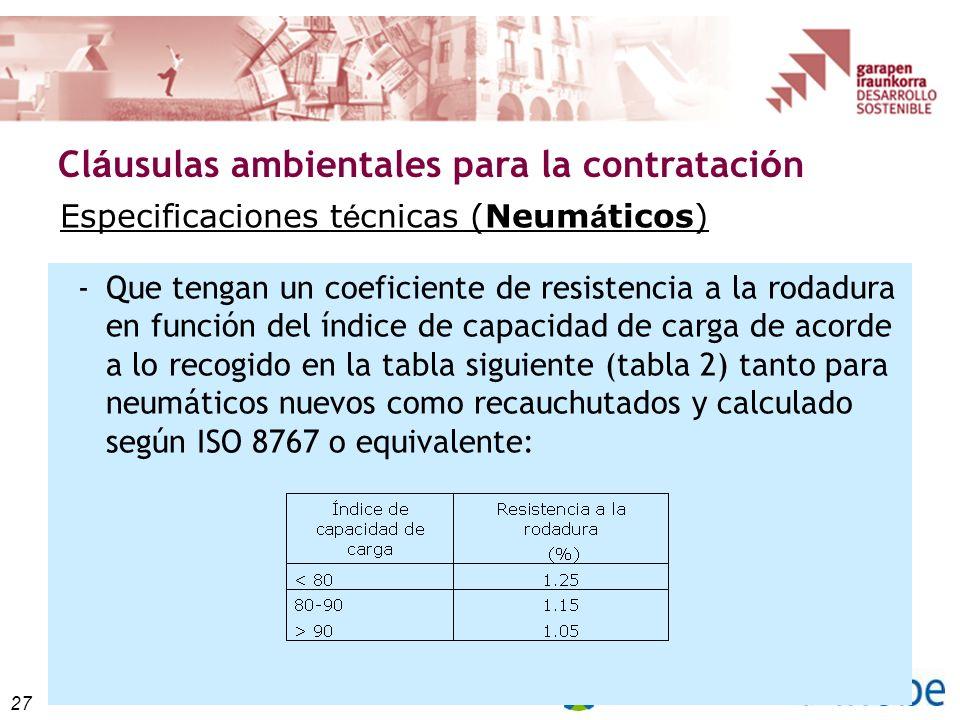 27 Cl á usulas ambientales para la contrataci ó n Especificaciones t é cnicas (Neum á ticos) -Que tengan un coeficiente de resistencia a la rodadura en función del índice de capacidad de carga de acorde a lo recogido en la tabla siguiente (tabla 2) tanto para neumáticos nuevos como recauchutados y calculado según ISO 8767 o equivalente: