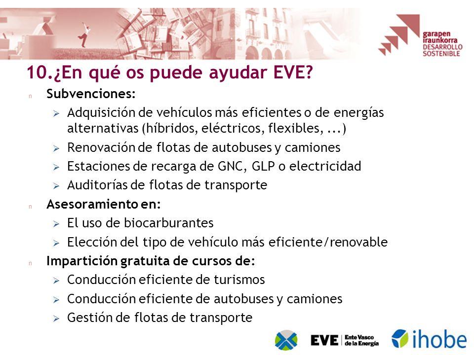 n Subvenciones: Adquisición de vehículos más eficientes o de energías alternativas (híbridos, eléctricos, flexibles,...) Renovación de flotas de autob
