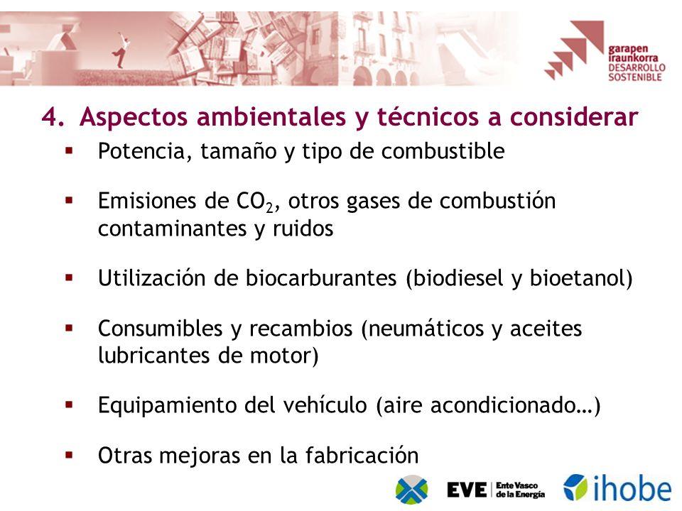 Potencia, tamaño y tipo de combustible Emisiones de CO 2, otros gases de combustión contaminantes y ruidos Utilización de biocarburantes (biodiesel y bioetanol) Consumibles y recambios (neumáticos y aceites lubricantes de motor) Equipamiento del vehículo (aire acondicionado…) Otras mejoras en la fabricación 4.Aspectos ambientales y técnicos a considerar