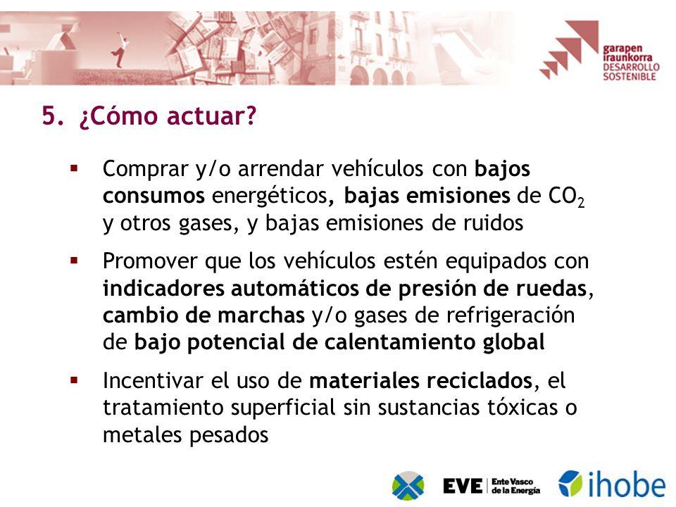 Comprar y/o arrendar vehículos con bajos consumos energéticos, bajas emisiones de CO 2 y otros gases, y bajas emisiones de ruidos Promover que los veh