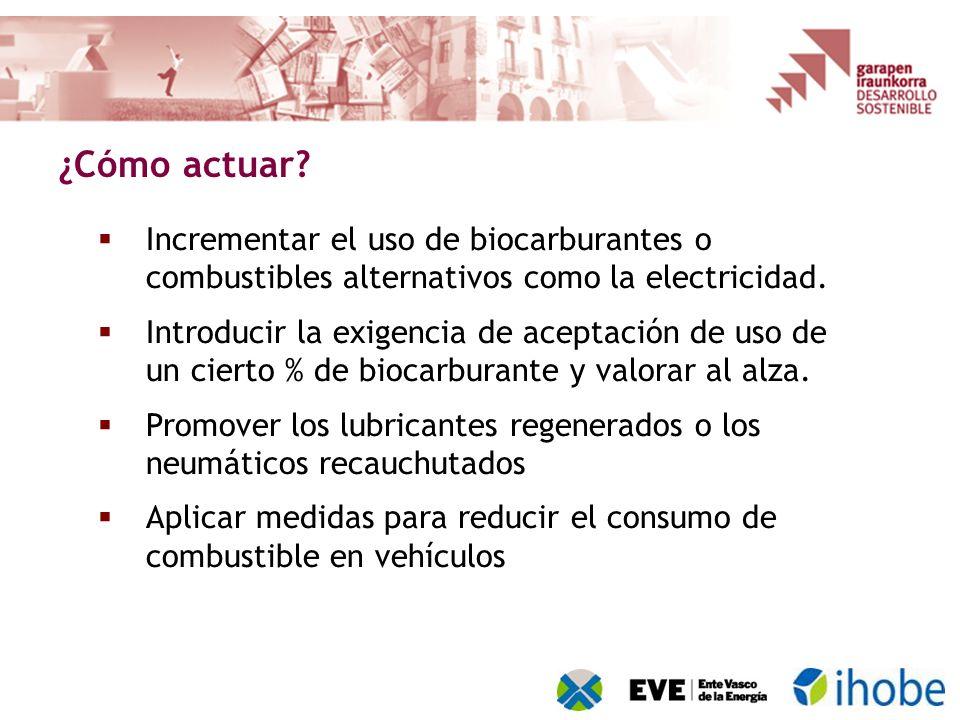 Incrementar el uso de biocarburantes o combustibles alternativos como la electricidad. Introducir la exigencia de aceptación de uso de un cierto % de