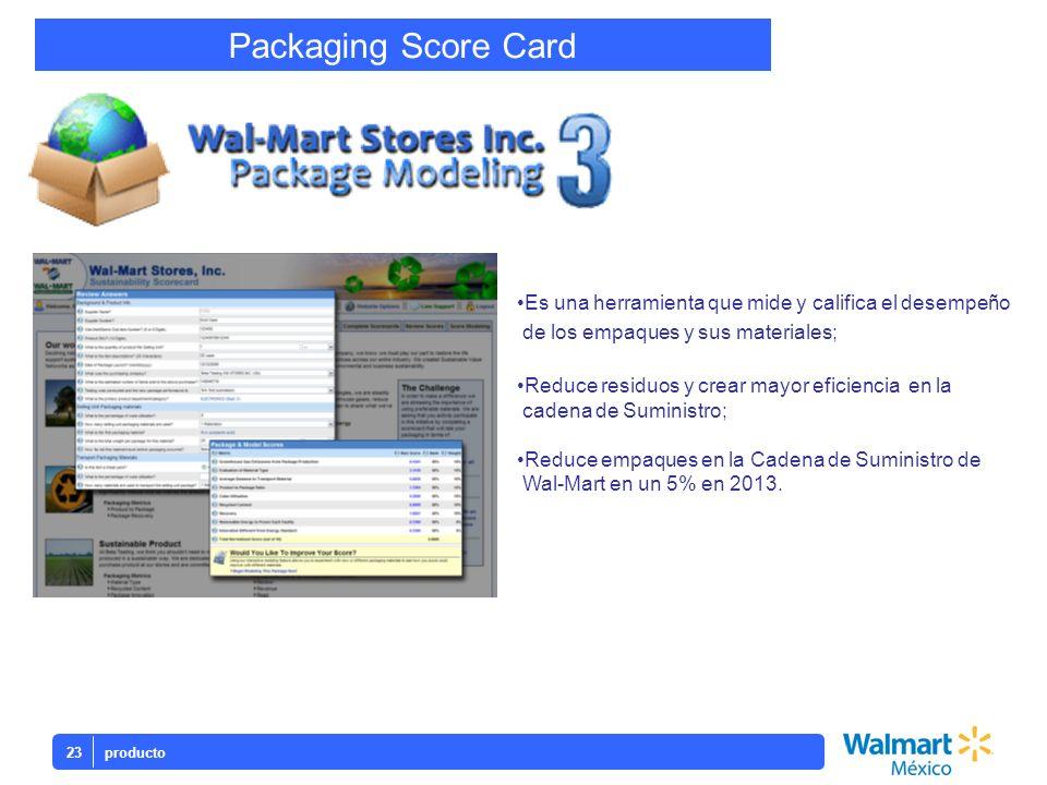 Packaging Score Card producto23 Es una herramienta que mide y califica el desempeño de los empaques y sus materiales; Reduce residuos y crear mayor ef
