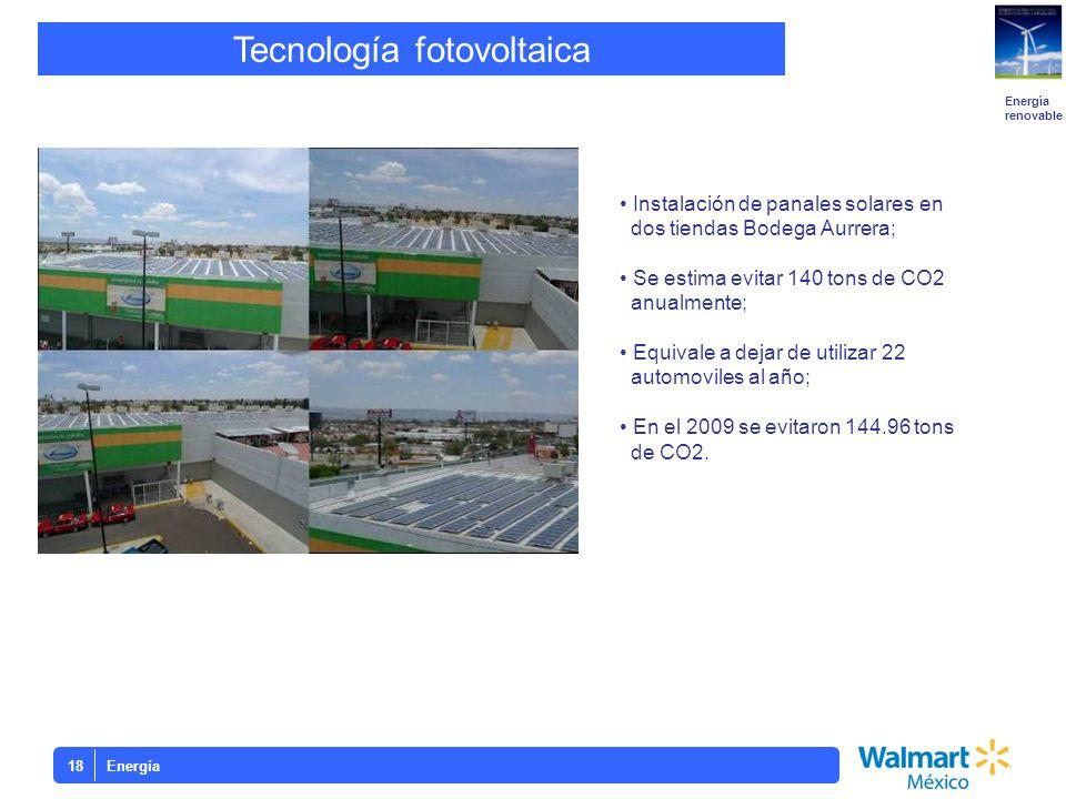 Energía18 Tecnología fotovoltaica Energía renovable Instalación de panales solares en dos tiendas Bodega Aurrera; Se estima evitar 140 tons de CO2 anu