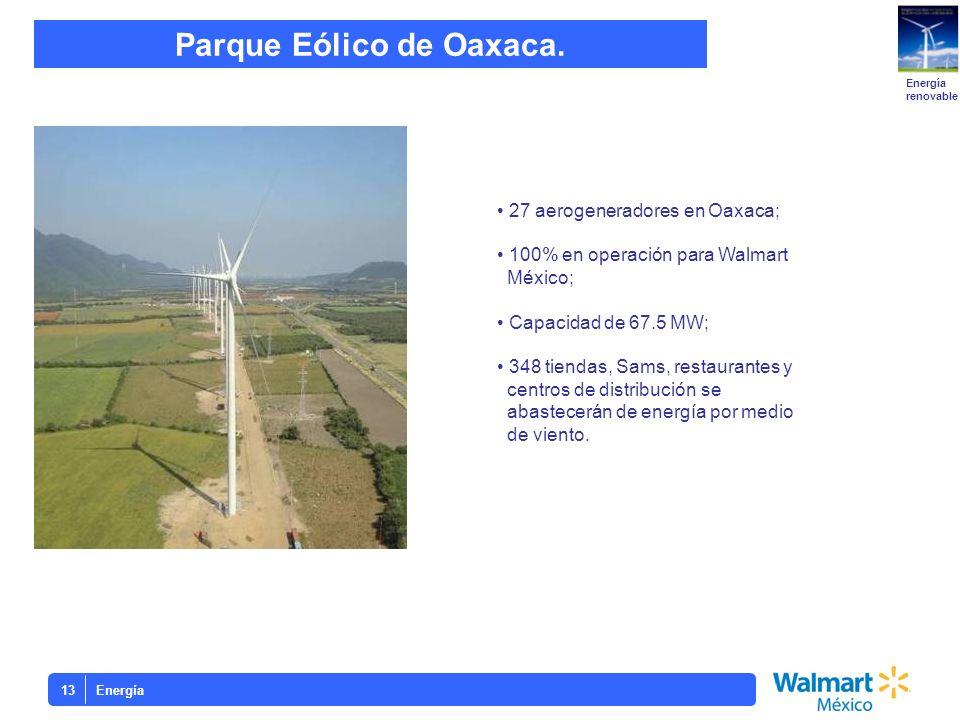 Energía13 Parque Eólico de Oaxaca. Energía renovable 27 aerogeneradores en Oaxaca; 100% en operación para Walmart México; Capacidad de 67.5 MW; 348 ti