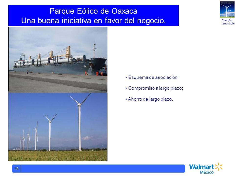 15 Esquema de asociación; Compromiso a largo plazo; Ahorro de largo plazo. Parque Eólico de Oaxaca Una buena iniciativa en favor del negocio. Energía