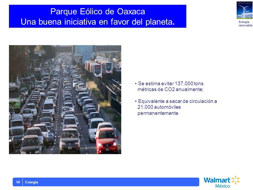 Energía14 Parque Eólico de Oaxaca Una buena iniciativa en favor del planeta. Energía renovable Se estima evitar 137,000 tons métricas de CO2 anualment