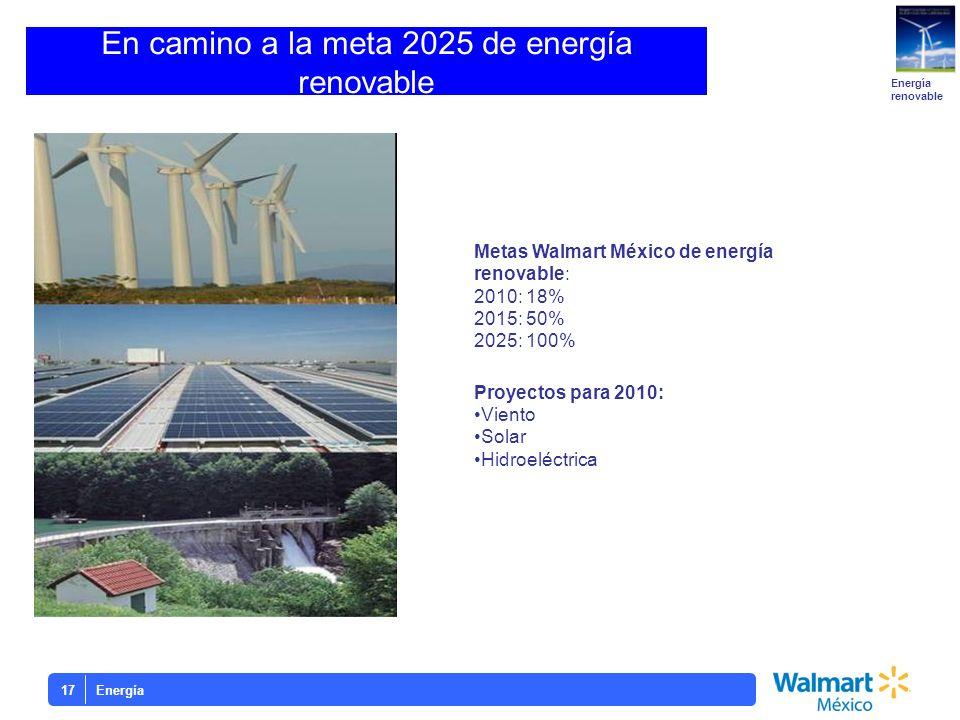 En camino a la meta 2025 de energía renovable Metas Walmart México de energía renovable: 2010: 18% 2015: 50% 2025: 100% Proyectos para 2010: Viento So