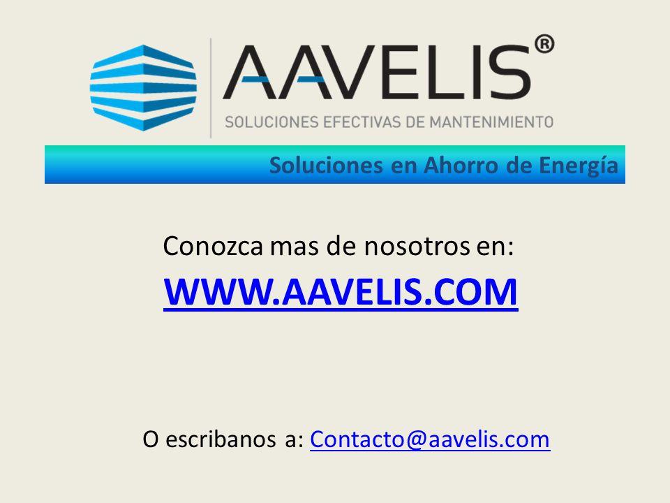 WWW.AAVELIS.COM O escribanos a: Contacto@aavelis.comContacto@aavelis.com Conozca mas de nosotros en: Soluciones en Ahorro de Energía