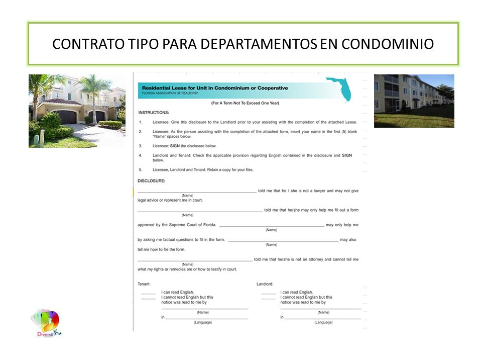 CONTRATO TIPO PARA DEPARTAMENTOS EN CONDOMINIO