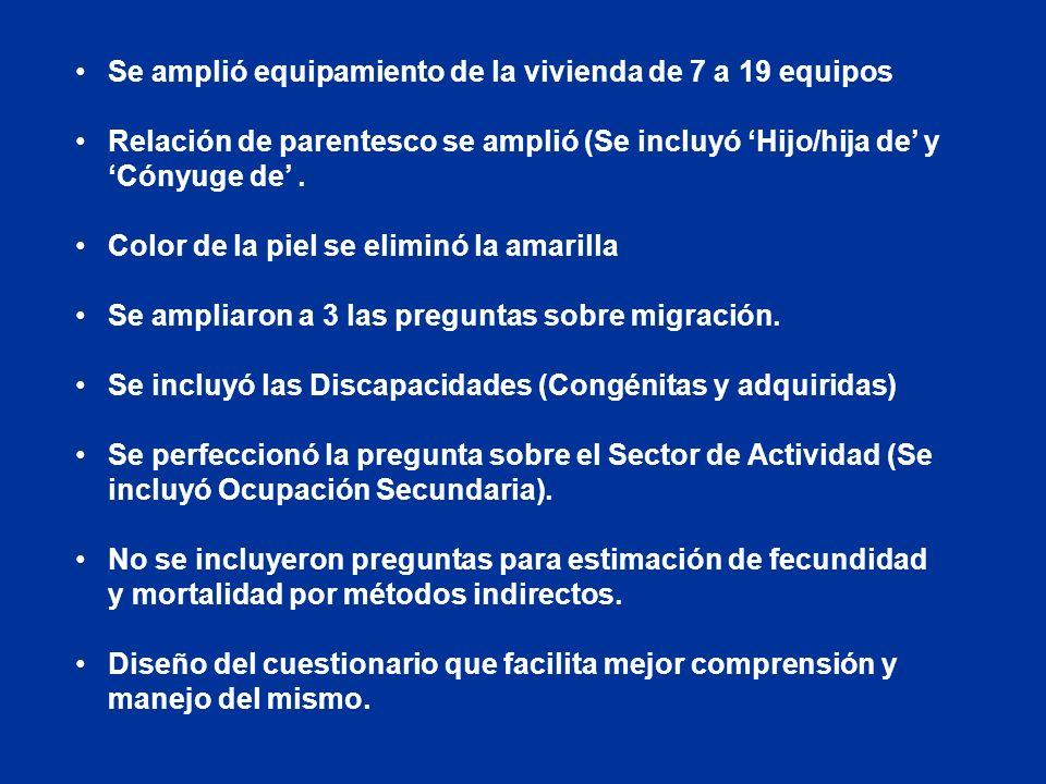 Principales cambios en el contenido censal (comparado con CPV-81). Incorporación de nuevas entidades territoriales: Plan Turquino y Consejo Popular Un
